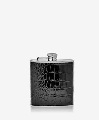 GiGi New York 6 oz Flask, Black Crocodile Embossed Leather