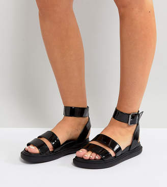 Asos DESIGN FLOCK Wide Fit Chunky Flat Sandals