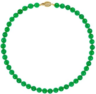 14K Gold Green Jade Bead Necklace