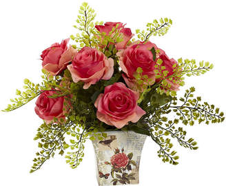 Asstd National Brand Nearly Natural Rose and Maiden Hair With Floral Planter