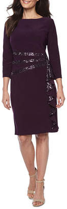 R & M Richards 3/4 Sleeve Embellished Sheath Dress-Petite