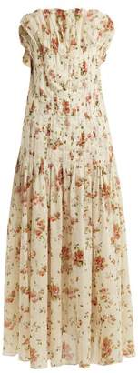 Brock Collection Dosey Roses Floral Print Cotton Dress - Womens - Pink Print