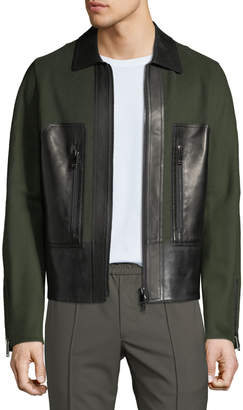 Valentino Men's Long-Sleeve Wool-Blend & Leather Panel Jacket