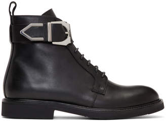 Versus Black Buckle Laced Boots