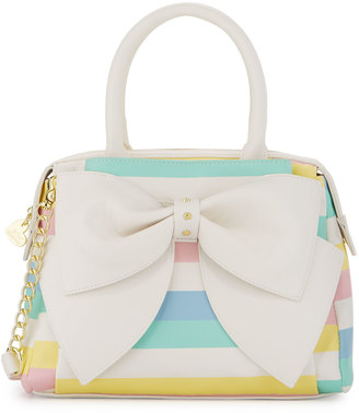 Betsey Johnson Ready Set Bow Striped Satchel Bag, White/Multi $95 thestylecure.com