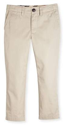 Burberry Teo Straight-Leg Twill Pants, Taupe, Size 4-14