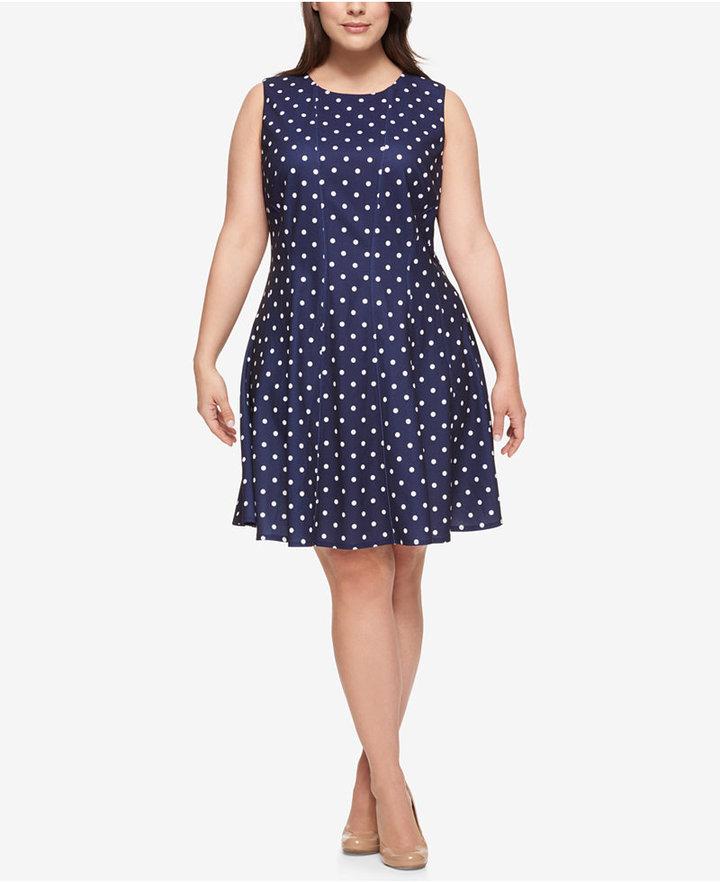 Tommy HilfigerTommy Hilfiger Plus Size Dot-Print Fit & Flare Dress