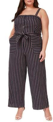 Dex Plus Striped Linen Blend Jumpsuit