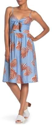 Lush Palm Leaf Print Tie Front Midi Dress