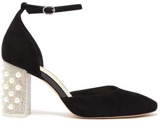 Sophia Webster Toni Embellished Heel Suede Pumps - Womens - Black