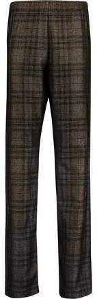 Checked Wool-Blend Straight-Leg Pants