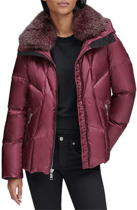 Andrew Marc Naya Down-Fill Parka Coat w/ Fur Hood