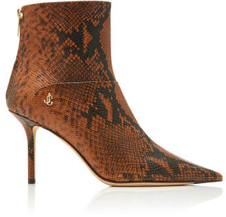 Jimmy Choo Beyla Snake-Effect Leather Ankle Boots Size: 37