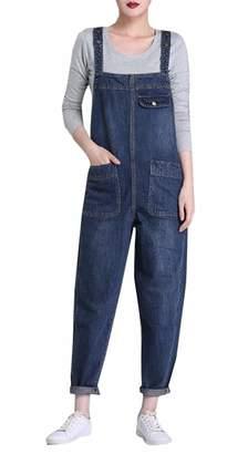 xiaohuoban Women's Classic Baggy Bib Harem Pant Plus Size Denim Jumper Overalls XXL