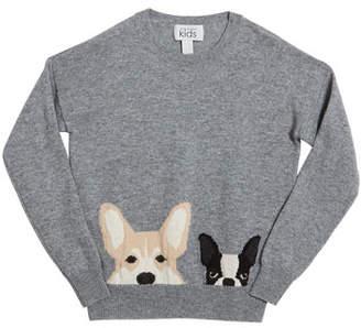 Autumn Cashmere Corgi & Terrier Drop-Shoulder Sweater, Size 8-16