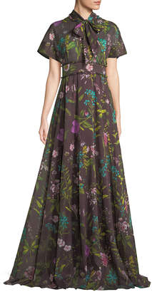 Lela Rose Tie-Bow Short-Sleeve Floral-Print Gown