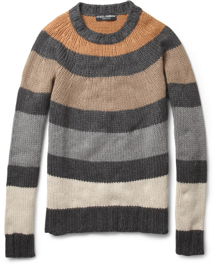Dolce & Gabbana Striped Knitted Crew Neck Sweater
