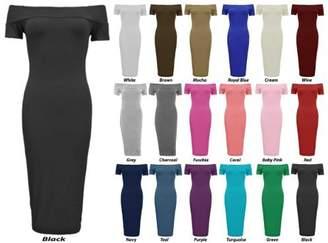 Bardot Baleza Women's Off The Shoulder Bodycon Midi Calf Length Dress S/M 8-10