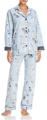 PJ Salvage Kiss Me I'm Chewish Hanukkah Flannel Cotton Pajama Set
