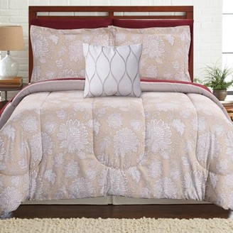 Pacific Coast Textiles 8 Piece Reversible Complete Bedding Set - Positano