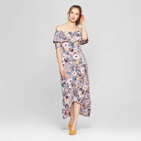 Love @ First Sight Women's Floral Print Off the Shoulder Ruffle Maxi Dress - Love @ First Sight (Juniors') Gray