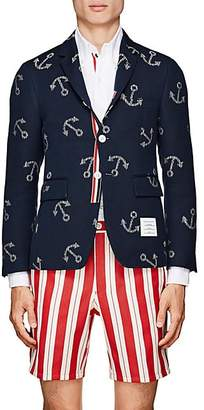 Thom Browne Men's Classic Anchor Cotton Three-Button Sportcoat - Navy