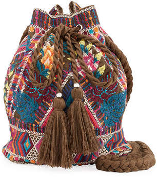 Johnny Was Quinn Embroidered Linen Drawstring Bucket Bag