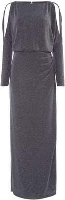 Lauren Ralph Lauren Metallic long sleeve gown with side slit