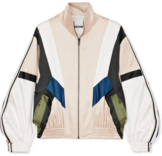 Koché - Striped Paneled Satin Track Jacket - Beige