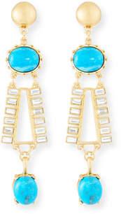 Sequin Turquoise & Crystal Dangle Earrings