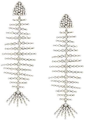 Saint Laurent Smoking fish skeleton earrings