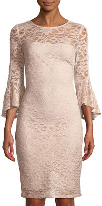 Marina Bell-Sleeve Lace Sheath Dress