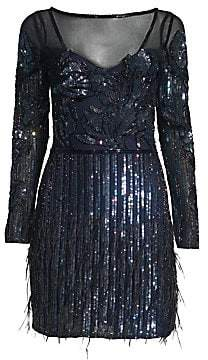 Parker Black Black Women's Bailey Embellished Mesh Dress