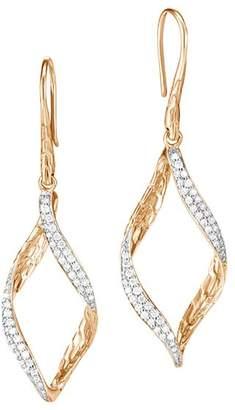 John Hardy 18K Yellow Gold Classic Chain Pavé Diamond Twisted Wave Drop Earrings