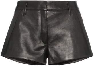 Saint Laurent mid-rise leather short shorts