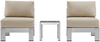 Modway Outdoor Shore 3Pc Outdoor Patio Aluminum Sectional Sofa Set