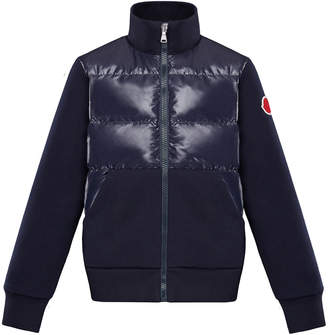 Moncler Knit & Quilted Stand Collar Jacket, Size 4-6