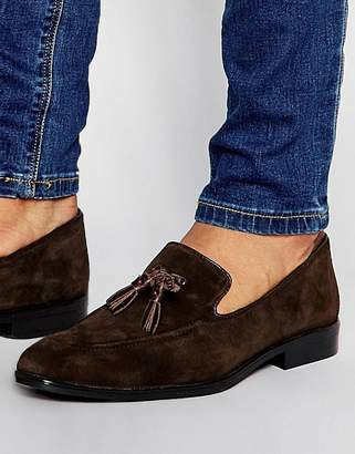 Asos Loafers In Brown Suede With Tassel