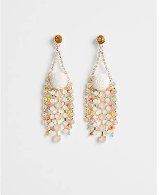 Express beaded multi stone drop earrings