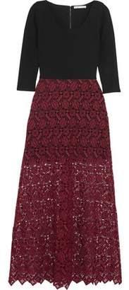 Alice + Olivia Jojo Jersey And Lace Maxi Dress