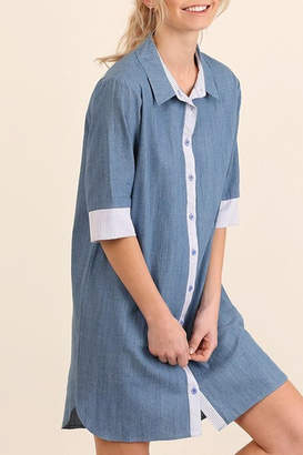 Umgee USA Denim Shirtwaist Dress