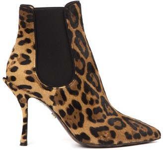 Dolce & Gabbana Leopard-print Pony Hair Ankle Boots