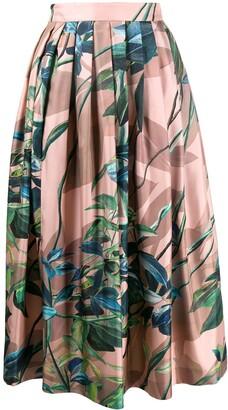 Agnona pleated floral print skirt