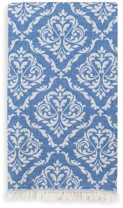 Linum HOME TEXTILES Damask Delight Turkish Pestemal Towel - Royal Blue