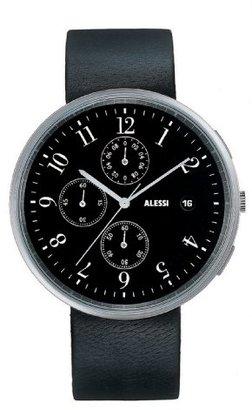 Alessi (アレッシー) - Alessiユニセックスal6021 Record stainless-steel andブラックレザーストラップクロノグラフウォッチ
