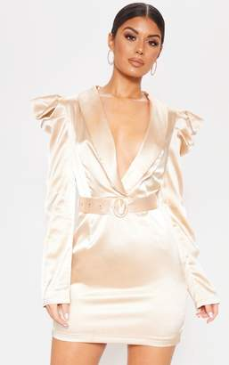 PrettyLittleThing Navy Shoulder Detail Belted Blazer Style Bodycon Dress