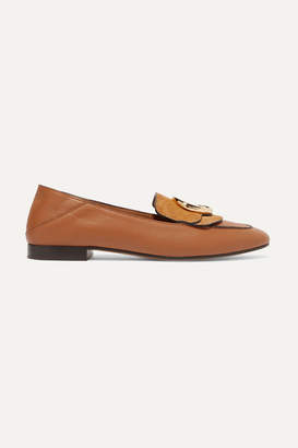 Chloé Logo-embellished Suede And Leather Collapsible-heel Loafers - Tan