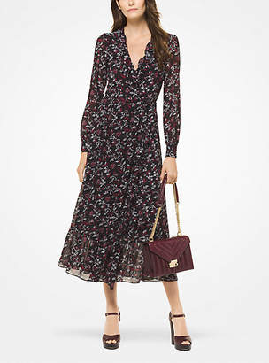 Michael Kors Botanical Georgette Wrap Dress