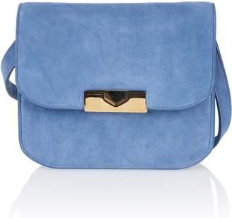 Victoria Beckham Eva Blue Suede Crossbody Bag