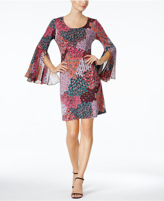 Msk Printed Bell-Sleeve Shift Dress $69 thestylecure.com